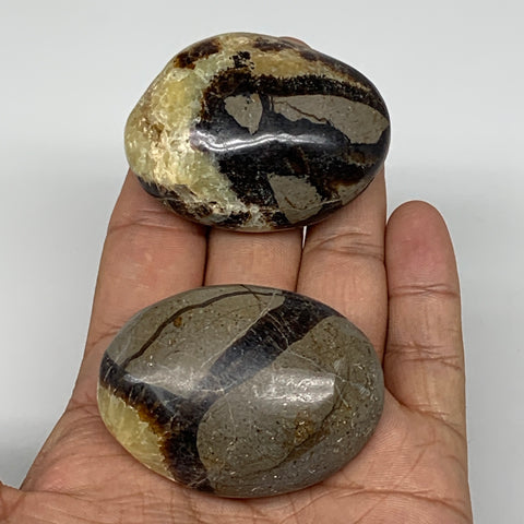 "128.5g,2""-2.1"",2pc,Septarian Nodule Palm-Stone Polished Reiki Madagascar,B5149"