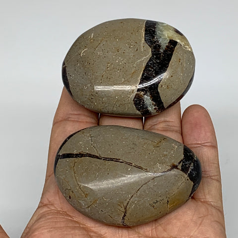 "150.8g,2.3""-2.4"",2pc,Septarian Nodule Palm-Stone Polished Reiki Madagascar,B5165"