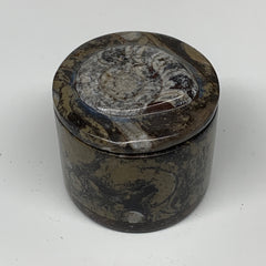"236.3g, 2.2""x2.4"" Brown Fossils Ammonite Jewelry Box from Morocco,F2464"