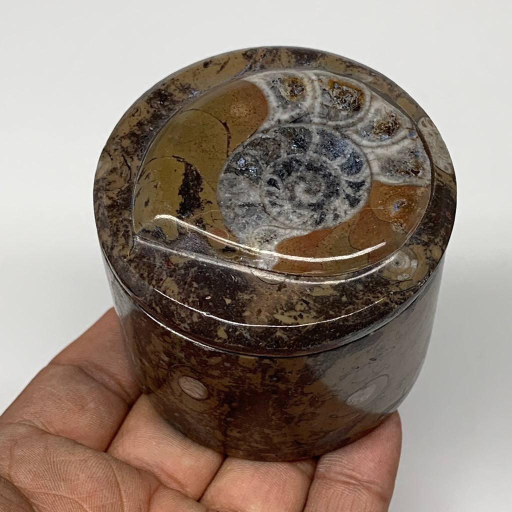 "228.3g, 2.2""x2.4"" Brown Fossils Ammonite Jewelry Box from Morocco, F2468"