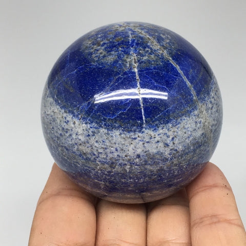 "372.5g, 2.4"" Natural Lapis Lazuli Crystal Sphere Ball Handmade @Afghanistan,LS57"