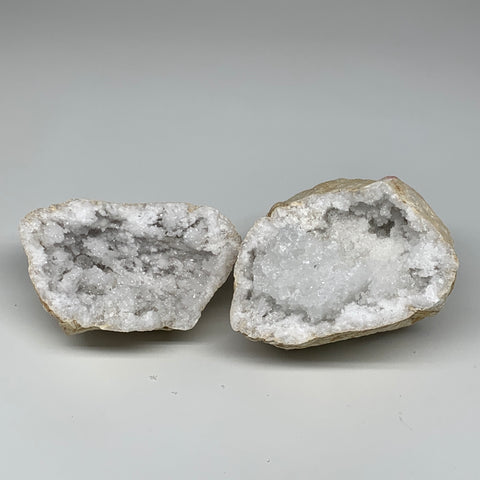 "4.28 Lbs,6.8""x5.2""x3.8"", 1 Pair, Natural Quartz Geodes Sculpture @Morocco,B10558"
