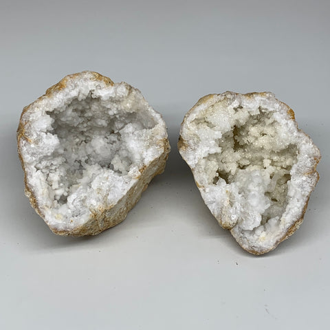 "3.6 Lbs,6.25""x4.7""x4.4"", 1 Pair, Natural Quartz Geodes Sculpture @Morocco,B10561"