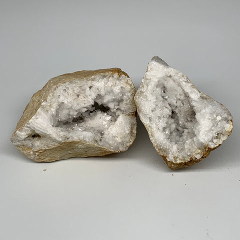 "2.9 Lbs,5.8""x4.8""x3.3"", 1 Pair, Natural Quartz Geodes Sculpture @Morocco,B10562"