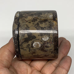 "220.5g, 2.2""x2.4"" Brown Fossils Ammonite Jewelry Box from Morocco, F2473"