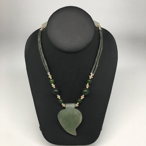 "1pc, Double-Strands Green Nephrite Jade Beaded Necklace @Afghanistan,24"" NPH39 - watangem.com"