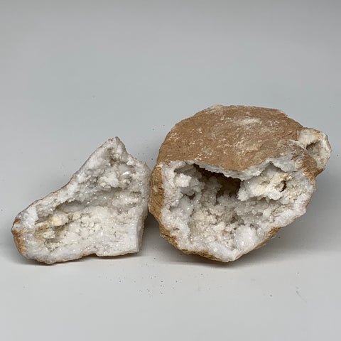 "1.9 Lbs,5.2""x5""x3.1"", 1 Pair, Natural Quartz Geodes Sculpture @Morocco,B10565"