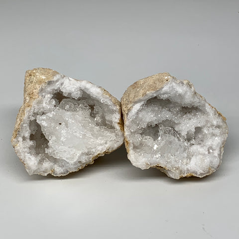 "2.05 Lbs,4.9""x3.8""x3.8"", 1 Pair, Natural Quartz Geodes Sculpture @Morocco,B10566"