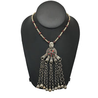 Handmade Vintage Afghan Tribal Kuchi Fashion Chained Bells Coin Necklace,KN305