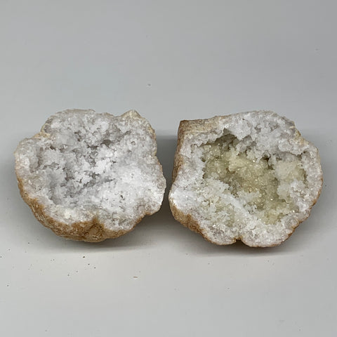 "1.04 Lbs,3.8""x3.3""x3.2"", 1 Pair, Natural Quartz Geodes Sculpture @Morocco,B10567"