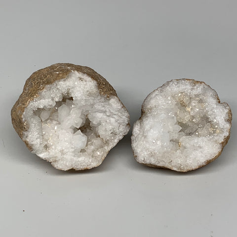 "1.28 Lbs,3.6""x3.3""x2.7"", 1 Pair, Natural Quartz Geodes Sculpture @Morocco,B10571"
