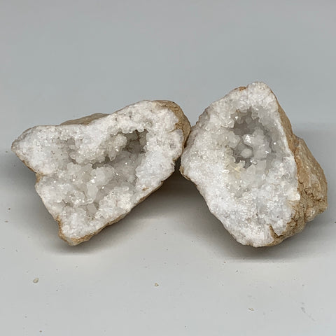 "2.21 Lbs,5.9""x4.3""x2.9"", 1 Pair, Natural Quartz Geodes Sculpture @Morocco,B10573"