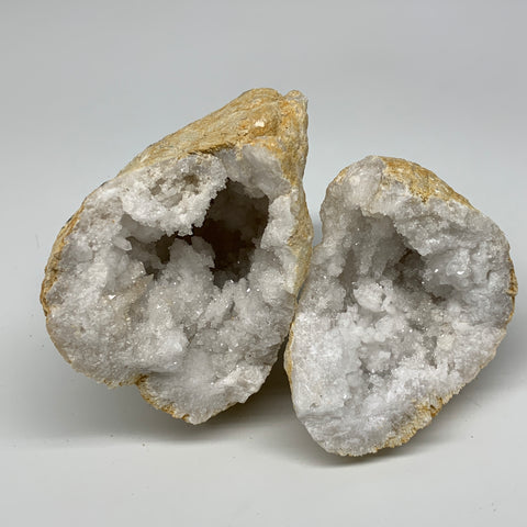 "1.45 Lbs,5.5""x3.7""x2.6"", 1 Pair, Natural Quartz Geodes Sculpture @Morocco,B10574"