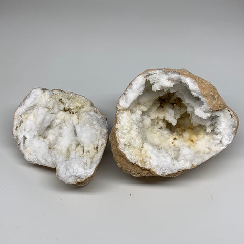 "5.54 Lbs,8.9""x5.5""x5.4"", 1 Pair, Natural Quartz Geodes Sculpture @Morocco,B10576"