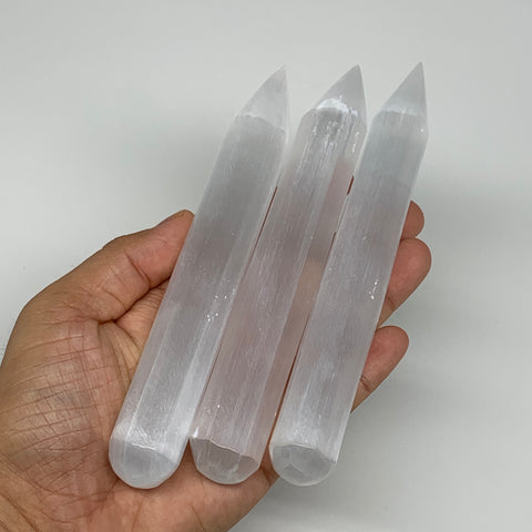 "1pc, 75g-135g, 6"" Natural Solid Selenite Crystal Wand Massage Stick, B8892"