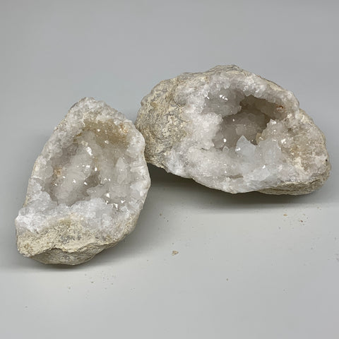 "2.9 Lbs,5.2""x4.9""x2.9"", 1 Pair, Natural Quartz Geodes Sculpture @Morocco,B10577"