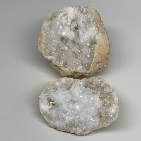 "2.41 Lbs,4.5""x4.2""x3.8"", 1 Pair, Natural Quartz Geodes Sculpture @Morocco,B10579"