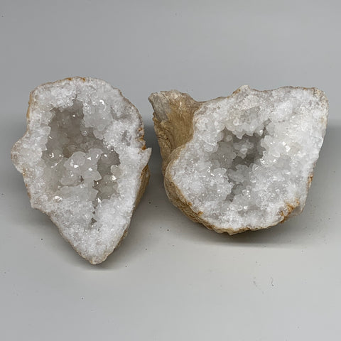 "3.61 Lbs,5.7""x5.2""x4.7"", 1 Pair, Natural Quartz Geodes Sculpture @Morocco,B10581"