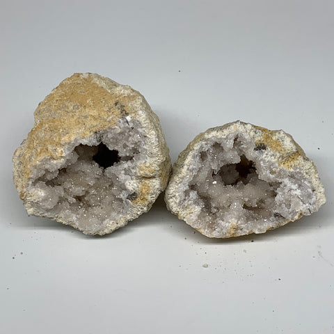 "0.95 Lbs,4.6""x3.1""x2.4"", 1 Pair, Natural Quartz Geodes Sculpture @Morocco,B10584"