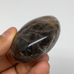 "109.7g,2.1x1.9x1.2"" Black Moonstone Crystal Palm-Stone Polished Reiki, B3320"