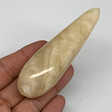 "94.4g,3.8""x1.1"" Natural Brown Calcite Wand Stick Massage Stone Crystal, B6029"