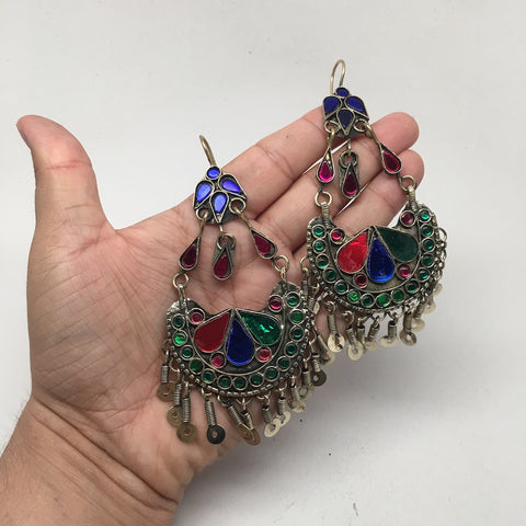 Afghan Kuchi Tribal Boho Chained Jingle Dangle Glass Multi-Color Earrings,KE46