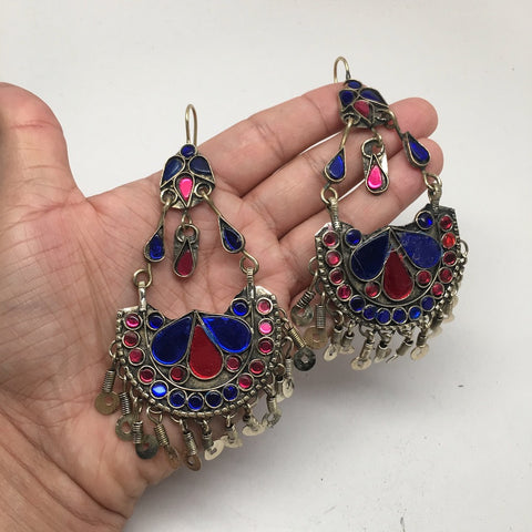 Afghan Kuchi Tribal Boho Chained Jingle Dangle Glass Multi-Color Earrings,KE51