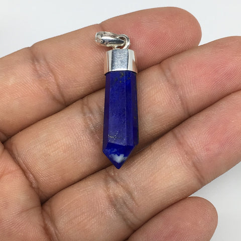 19.5cts, 29mm x 9mm x 7mm,Lapis Lazuli Pendant Sterling Silver @Afghanistan,FP76