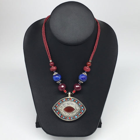 "1pc, Turkmen Necklace Pendant Statement Tribal Red Carnelian Beaded,20-22"",TN769"