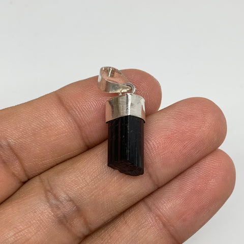 14.5cts, 18mm x 8mm, Natural Tourmaline Pendant Sterling Silver @Afghanistan,P68