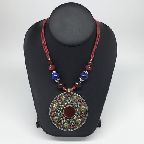 "1pc,Turkmen Necklace Pendant Statement Tribal Red Carnelian Bead,20-22"",TN771"