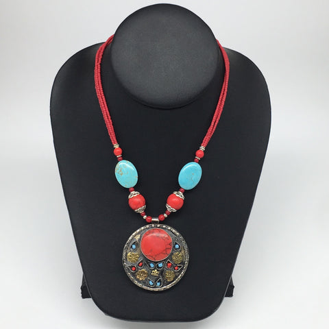 "1pc, Turkmen Necklace Pendant Statement Tribal Coral Inlay Beaded,20-22"", TN773"