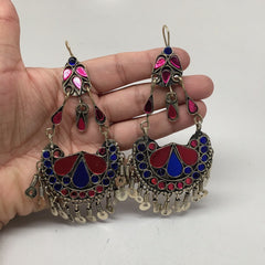 Afghan Kuchi Tribal Boho Chained Jingle Dangle Glass Multi-Color Earrings,KE63