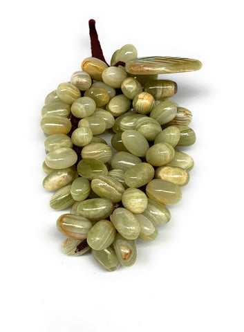 "678g, 8.5""x4"" Green Onyx Grape Bunch Stone Marble Decor @Pakistan,B7862"