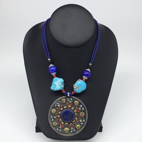 1pc,Turkmen Necklace Pendant Statement Tribal Round Lapis Lazuli Pendant,TN786