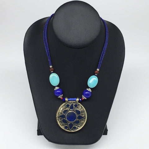 1pc, Turkmen Necklace Pendant Statement Tribal Round Lapis Lazuli Inlay, TN787