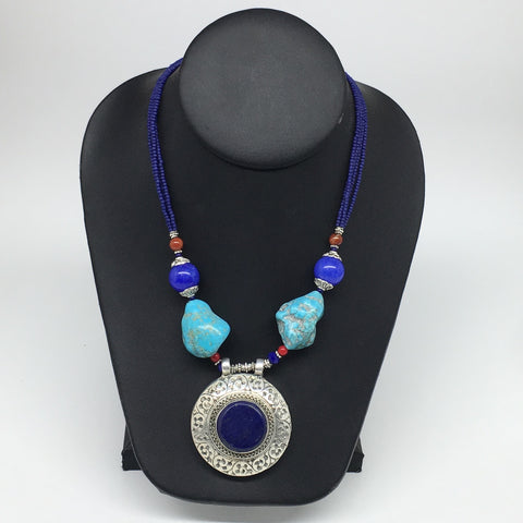 1pc, Turkmen Necklace Pendant Statement Tribal Round Shape Lapis Lazuli,TN790