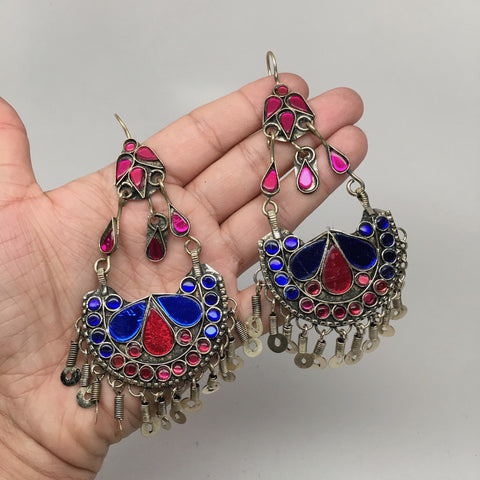 Afghan Kuchi Tribal Boho Chained Jingle Dangle Glass Multi-Color Earrings,KE109 - watangem.com