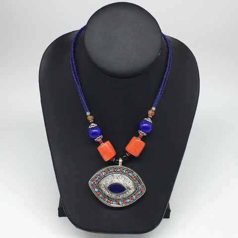 1pc, Turkmen Necklace Pendant Statement Tribal Marquise Shape Lapis Lazuli,TN791