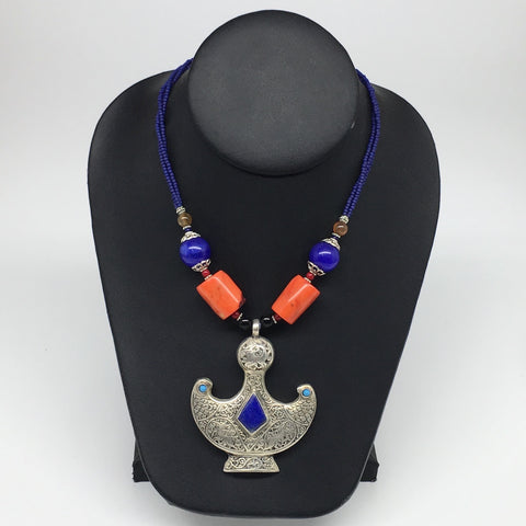 1pc, Turkmen Necklace Pendant Statement Tribal Drop Lapis Lazuli Inlay, TN792