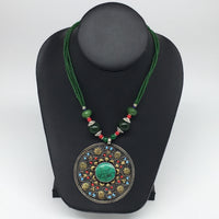 1pc,Turkmen Necklace Pendant Statement Round Green Turquoise Inlay Fashion,TN796
