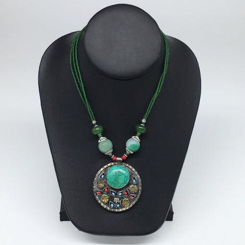 1pc,Turkmen Necklace Pendant Statement Round Green Turquoise Inlay Fashion,TN797
