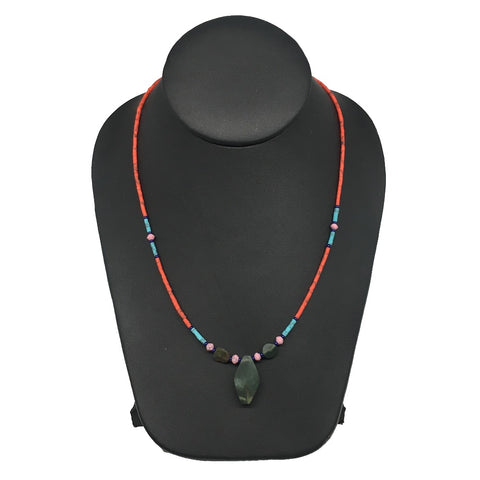 1 Necklace, Nephrite Jade & Red Coral Inlay Beaded Necklace Afghanistan, NPH115 - watangem.com