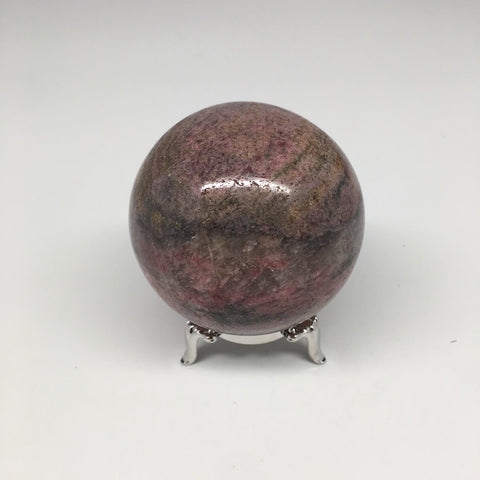 "357g Natural Rhodonite Ball Stone Sphere from Madagascar, 2.4"" MS72"