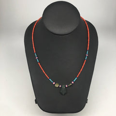 1 Necklace, Nephrite Jade & Red Coral Inlay Beaded Necklace Afghanistan, NPH118 - watangem.com