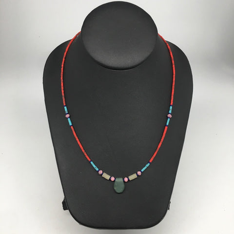 1 Necklace, Nephrite Jade & Red Coral Inlay Beaded Necklace Afghanistan, NPH119 - watangem.com