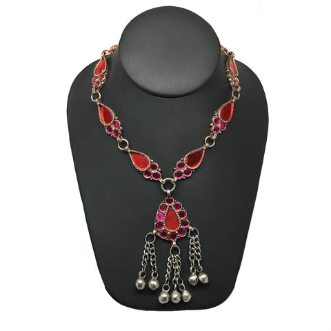 Ethnic Afghan Tribal Kuchi Fashion Red Teardrop Glass Boho ATS Necklace, KN343 - watangem.com