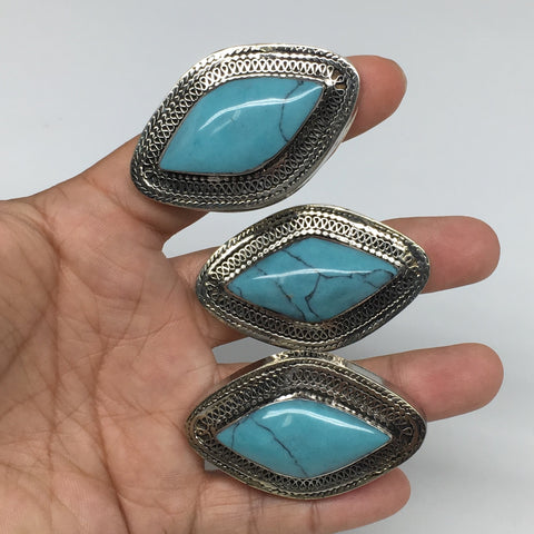 "2""x1.3"",Turkmen Ring Afghan Tribal Marquise Turquoise Inlay, 7.5, 9, 9.5, TR116"