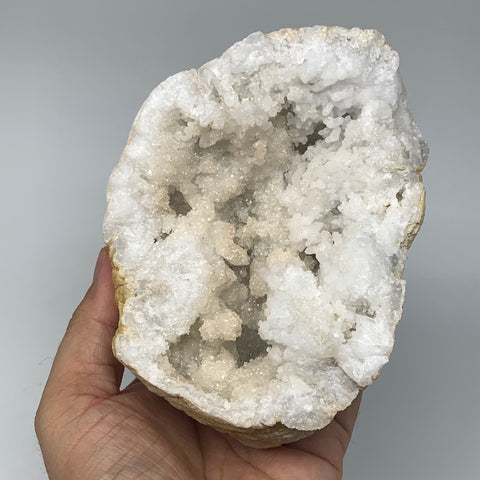 "892g,4.8""x4.7""x3.7"", Natural Quartz Crystal Geodes Sculpture @Morocco,B10649"