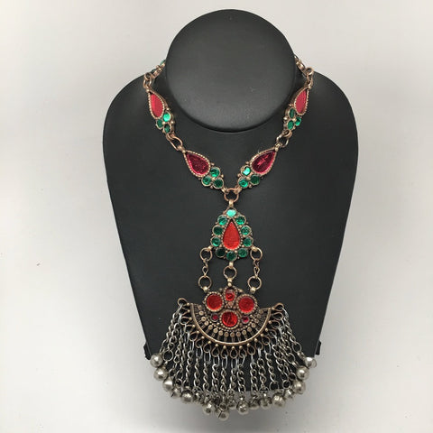 Handmade Afghan Tribal Kuchi Multi-Color Glass Bells Boho ATS Necklace, KN361 - watangem.com